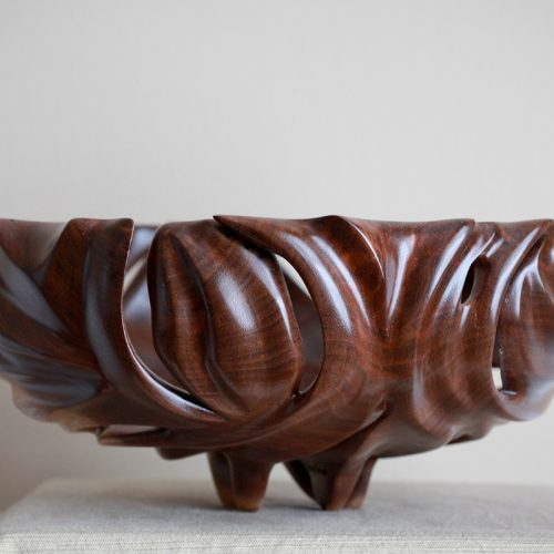 <p>Walnut Bowl<br /> Turned, carved<br /> 10″ x 10″ x 4.5″<br /> SOLD</p>