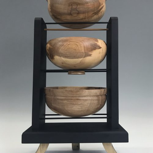 <p>Pecan bowls, Poplar base<br /> Turned & painted<br /> 16.5″x 9.75″ x 4.75″<br /> $300.00</p>