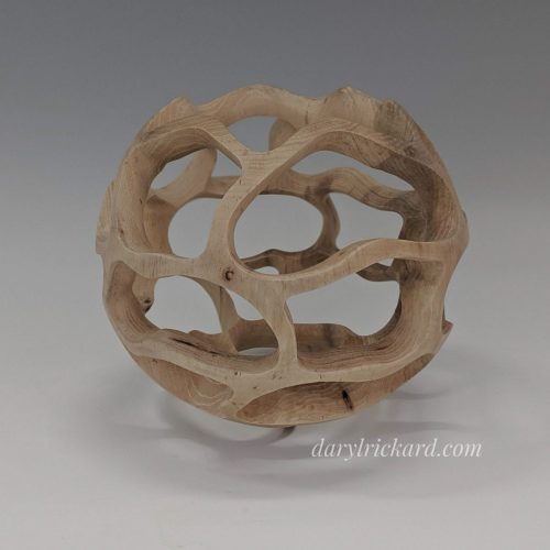 <p>Pecan<br /> Turned & carved<br /> 7″ diam x 6.5″ H<br /> SOLD</p>